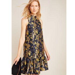 Anthropologie Liza Textured Flounce Swing Dress